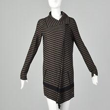 XS Sonia Rykiel 1990s Black Brown Sweater Asymmetrical Cardigan Designer 90s VTG