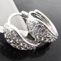 EARRINGS HUGGIE HOOP GENUINE REAL 18K WHITE G//F GOLD DIAMOND SIMULATED DESIGN