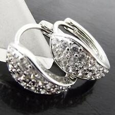 AN984 GENUINE REAL 18K WHITE G/F GOLD DIAMOND SIMULATED WOMENS HOOP EARRINGS