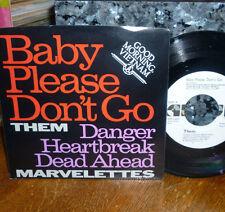 "*<* THEM's ""BABY PLEASE DON'T GO"" b/w ""DANGER HEARTBREAK (MARVELETTES) PROMO 45!"