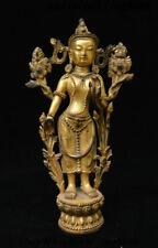Old Tibet Buddhism Brass Gilt Female Medicine Guru Guanyin Buddha Goddess Statue