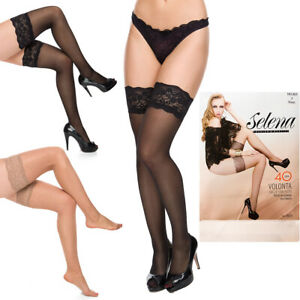 Womens Sexy High Stockings Lace on Top Sheer Tights Hosiery Holds-Up M-XL SE805