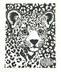 Lisa Frank Folder UNCOLORED Vintage Black Velvet 2 Pocket Folder HUNTER Lion Cub