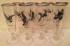 Lot of 8 Pilsner Stems SPORTSMAN by Federal Glass ~ Canada Goose & More!
