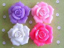 4 x GLITTER SHIMMER ROSE FLOWER FLAT BACK RESIN CABOCHONS CRAFTS 26mm *UK*