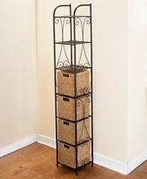 Seagrass Tower Shelving Rack Unit w 4 Baskets Bathroom Pantry Storage Furniture