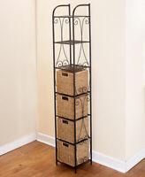 Seagrass Tower Shelving Rack Unit w 4 Baskets Bathroom Pantry Storage Furniture