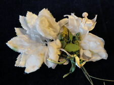 "Vtg Millinery Flower Collection 1/2 -3"" White w/Green Velvet Japan Shabby H1857"