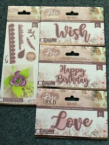 CRAFTERS COMPANION ROSE GOLD DIE WISH HAPPY BIRTHDAY LOVE ROSE QUILLING FLOWER