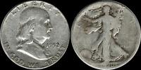 $1.00 Face Value: Franklin & Walking Liberty Half Dollar 90% SILVER 'Junk' Coins
