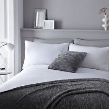 Blanc Mélange de Coton Pintuck Pom Pom Super King Couverture Housse Confortable