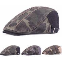 Men Camouflage Pattern Cap Adjustable Outdoor Sun Driving Golf Beret Hat NEW