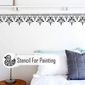 SAGAR Border Stencil - Indian Boho Walls Floor Furniture Dizzy Duck Stencil