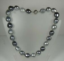 Simulated Grey Pearl Necklace Magnetic Clasp