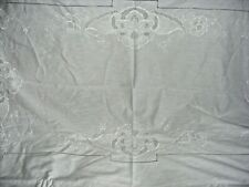 "VINTAGE EMBROIDERED TABLECLOTH WHITE COTTON RAISED CUTWORK LACE  76"" X 52"""