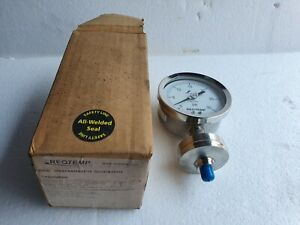"""REOTEMP All-Welded Process Pressure Gauge, Diaphragm Seal 3.5"""" Stainless, 30 PSI"""