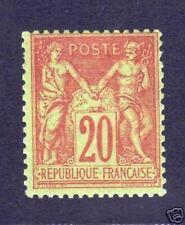 """FRANCE STAMP TIMBRE N° 96 """" TYPE SAGE 20c BRIQUE S.VERT """" NEUFxx TTB VALEUR:112€"""