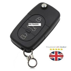 "for Audi A2 A3 A4 A6 A8 TT 3 Button Key Case Shell With Uncut Blade ""LOGO"" A16"