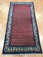 "2'1"" x 4'1"" Bordered Turkish Oriental Rug - 1950s - Hand Made - 100% Wool"