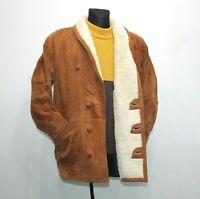 80s Vintage Brown Shearling Jacket Coat Genuine Leather Sherpa Mens EU 50 UK 40