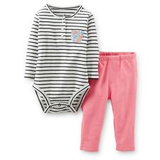 Carters 12 Months 2 Piece Set Striped Bodysuit and Pants Floral Pocket