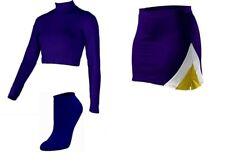 "NEW Adult PURPLE Cheerleader Uniform Top Skirt Socks 42-46/34-38"" VIKINGS LSU"