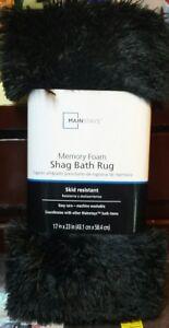 NWT Mainstays Memory Foam Skid Resisitant Shag Bath Rug  17X23