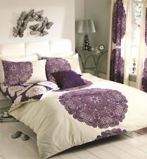 Manhattan Cream/Aubergine Duvet Covers Quilt Covers Reversible Bedding Sets