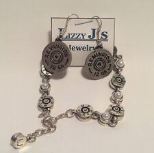 LIZZY J'S Sterling Silver Plated 12 GA Shotgun Shell Earrings & Pearl Bracelet