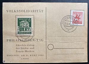 1946 Dresden Germany Postcard Cover Sc#13B1 Philatelic Exhibition