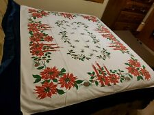 "VINTAGE ""CHRISTMAS"" TABLECLOTH FEATURING POINSETTIAS AND CANDLES"