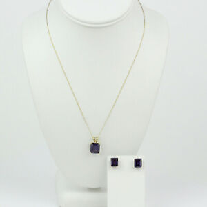 14k Yellow Gold and Synthetic Color-Change Sapphire Necklace and Earrings Set