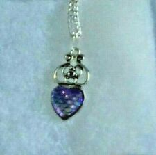 Mermaid / Dragon purple scaled pendant on silver plate chain '630' fish scale