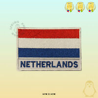 Netherlands National Flag With Name Embroidered Iron On Sew On Patch Badge