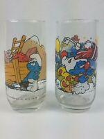 2 Vintage Smurf Glasses Hefty Smurf 1982 And Clumsy Smurf 1983