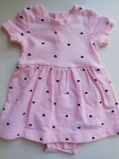 CUTE 'CARTERS' BABY GIRL COTTON ROMPER DRESS ALL IN ONE W HEARTS SIZE 000 EC