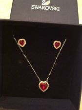 SWAROVSKI RUBY PENDANT AND EARINGS HEART  SILVER SET BOXED