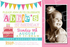 Personalised Girls Photo Birthday Party Bunting Invite Invitation