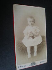 Cdv old photograph baby girl with toy by Piccolati lille France c1890s