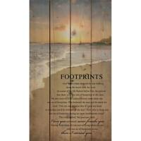 """FOOTPRINTS IN THE SAND Distressed Wood Pallet Sign, 14"""" x 24"""""""