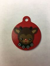"""Rudolph Christmas Winter Themed Pet Charm Cat Dog Tag for Your Pet, Red 1.25"""""""