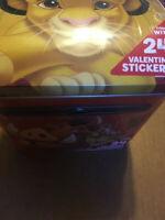 NEW/SEALED DISNEY THE LION KING TIN VALENTINE BOX W/ 24 STICKERS (TIN BOX C0.)