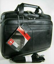 "Samsonite Laptop Case Genuine Leather Bag Travel Slim Briefcase Black 15.6"""