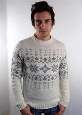 VINTAGE Da Uomo Pesante Lana Norvegese Snowflake Knitwear Sweater Maglione M