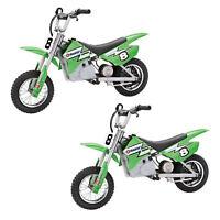 Razor MX400 Dirt Rocket Electric Toy Motocross Motorcycle Bike, Green (2 Pack)