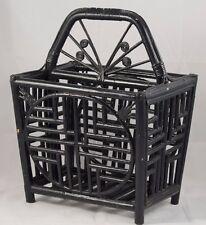 Vintage Art Deco Style Black Lacquered Bamboo Rattan Magazine Rack