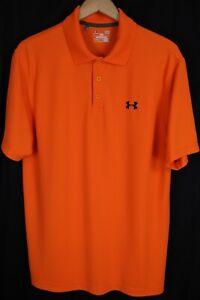 Under Armour Mens sz Large Orange Loose Fit Heat Gear SS Polo Golf Shirt