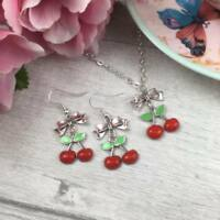 "Silver Cherry Necklace & Earring Set, Rockabilly Tattoo Vintage 50s, 16""-18"""