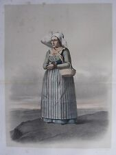 1872 PRINT SWEDISH PEASANT COSTUME WOMAN OF THE OXIE DISTRICT kanska Folkdragter