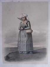 1872 PRINT SWEDISH PEASANT COSTUME WOMAN OF THE OXIE DISTRICT kanska Folkdragter